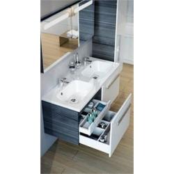 RAVAK skrinka pod dvoj-umývadlo s dvoma zásuvkami SD Chrome 1200 S-Onyx/biela kód X000000537