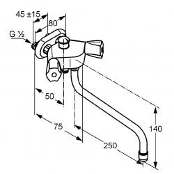 KLUDI vaňová a sprchová batéria SPEZIAL chróm kód 251110515