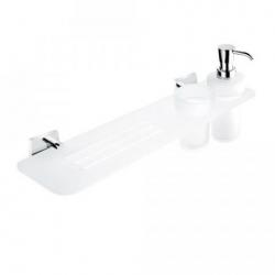 Nimco Kibo polička s dávkovačom mydla a pohár, akrylát /sklo