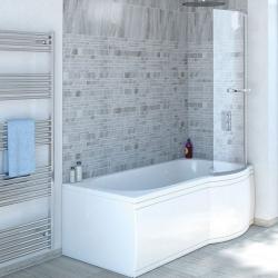 Aqualine SKALICE sprchová zástena s držiakom uterákov, v. 140 cm, 6 mm sklo
