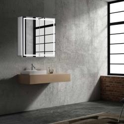 Bath Concept ZRKADLOVÁ SKRINKA Hapa Design MILANO 60 biela, 2 dvere s LED osvetlením