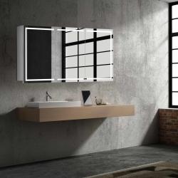 Bath Concept ZRKADLOVÁ SKRINKA Hapa Design MILANO 120 biela, biela, 3 dvere s osvetlením LED