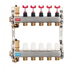 Rozdeľovač nerez s prietokomermi a uzat.ventilmi, 5-okruhov